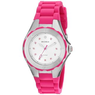 Michele Women's MWW12P000002 'Jelly Bean' Topaz Stones Pink Stainless Steel Watch