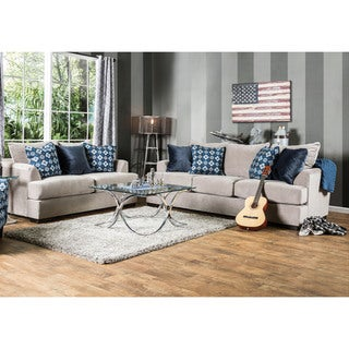 Furniture of America Maslie Contemporary 2-piece Beige Velvet Sofa Set