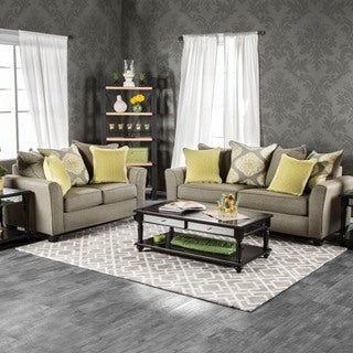 Furniture of America Shaylie Contemporary 2-piece Grey Fabric Sofa Set