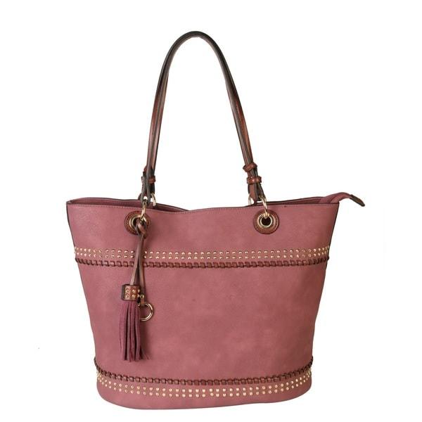 Rimen & Co. Women's PU Leather Studded Design Handbag