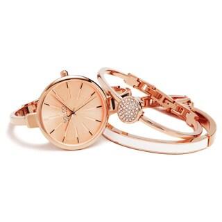 SO&CO New York Women's Madison Quartz Bangle Crystal Mothers Day Gift Watch Set