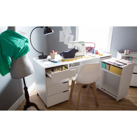 South Shore Crea Rolling Sewing Machine and Craft Table - Pure White
