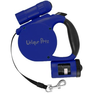 Unique Petz 3-in-1 Retractable Leash with Built-In Flashlight and Bag Dispenser