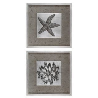 Starfish & Coral Shadow Box Art (Set of 2)