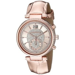 Michael Kors Women's MK2445 Sawyer Chronograph Crystal Pave Rose-Tone Dial Rose-Tone Leather Watch