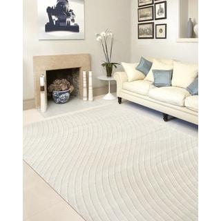 Cream Contemporary Modern Swirl Indoor Area Rug (5' 3 x 7' 3)