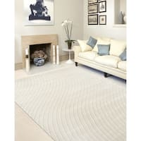 "Cream Contemporary Modern Swirl Indoor Area Rug (5' 3 x 7' 3) - 5'3"" x 7'3"""