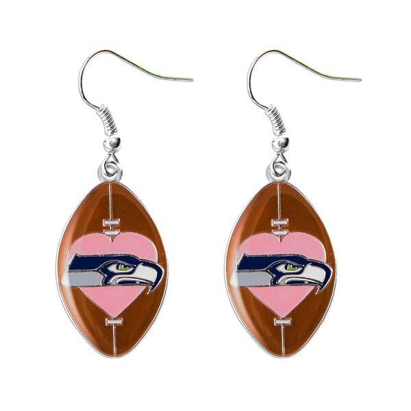 NFL Seattle Seahawks Dangle Pink Heart Football Earring