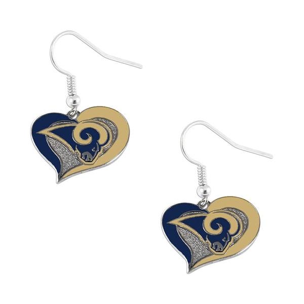 NFL St. Louis Rams Swirl Heart Earring Dangle Logo