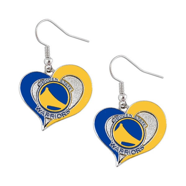 NBA Golden State Warriors Swirl Heart Dangle Earring Set