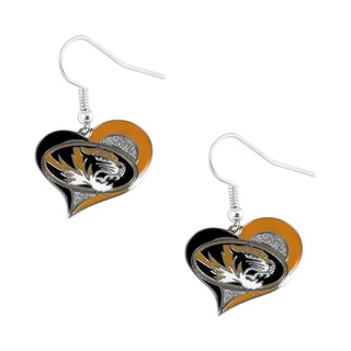 NCAA Missouri Tigers Swirl Heart Dangle Earring Set