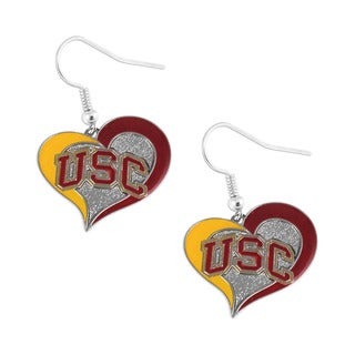 NCAA USC Trojans Swirl Heart Dangle Earring Set