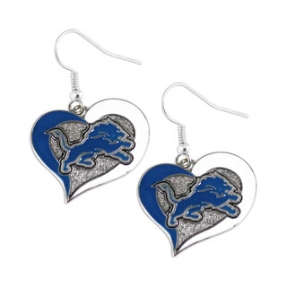 NFL Detroit Lions Swirl Heart Dangle Earring Set