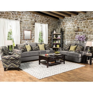 Furniture of America Avnet Contemporary 3-piece Olive Grey Fabric Sofa Set