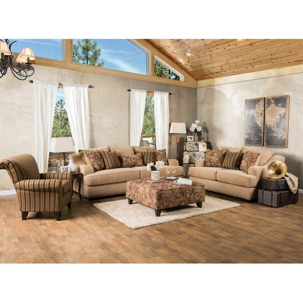 Furniture Of America Shellie Transitional 3 Piece Tan Fabric Sofa Set