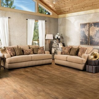 Furniture of America Shellie Transitional 3-piece Tan Fabric Sofa Set
