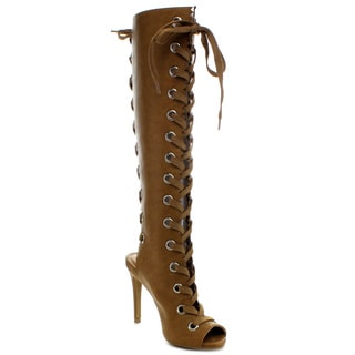 Wild Diva BERLIN-29 Women's Lace Up Cut-Out Knee High Boots