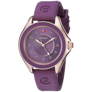 Michele Women's MWW27A000002 'Cape' Topaz Stones Purple Silicone Watch