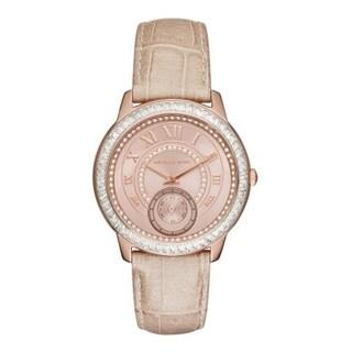 Michael Kors Women's MK2448 Madelyn Diamond Rose-Tone Dial Sand Leather Watch