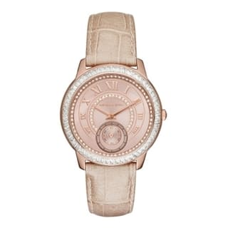 Michael Kors Women's MK2448 Madelyn Diamond Rose-Tone Dial Sand Leather Watch https://ak1.ostkcdn.com/images/products/11099277/P18104512.jpg?impolicy=medium