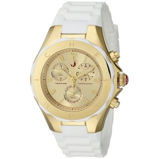 Michele Women's MWW12F000031 'Tahitian Jelly Bean' Chronograph White Silicone Watch