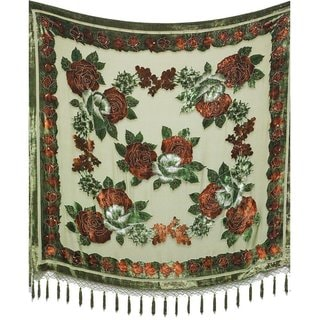 Aris A. Hand-Beaded Velvet Burnout Rose Square Scarf
