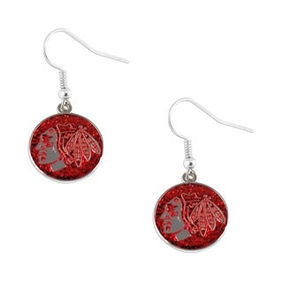 NHL Chicago Blackhawks Glitter Dangle Earring Set