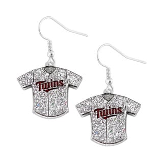 MLB Minnesota Twins Glitter Jersey Charm Dangle Earring Set