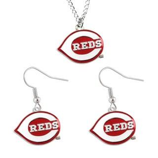 MLB Cincinnati Reds Necklace and Dangle Earring Set
