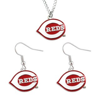 MLB Cincinnati Reds Necklace and Dangle Earring Set