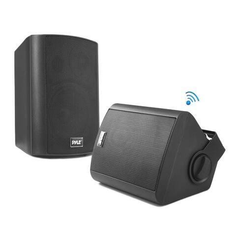 Pyle PDWR52BTBK Wall Mount Waterproof & Bluetooth 5.25'' Indoor / Outdoor Speaker System, Black
