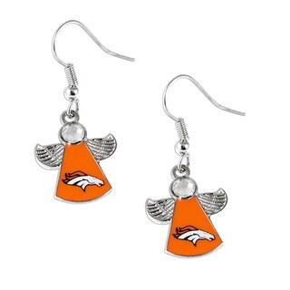 NFL Denver Broncos Crystal Angel Wings Dangle Logo Earring Set