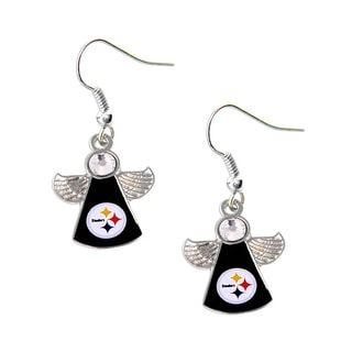 NFL Pittsburgh Steelers Crystal Angel Wings Dangle Logo Earring Set