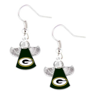 NFL Green Bay Packers Crystal Angel Wings Dangle Logo Earring Set