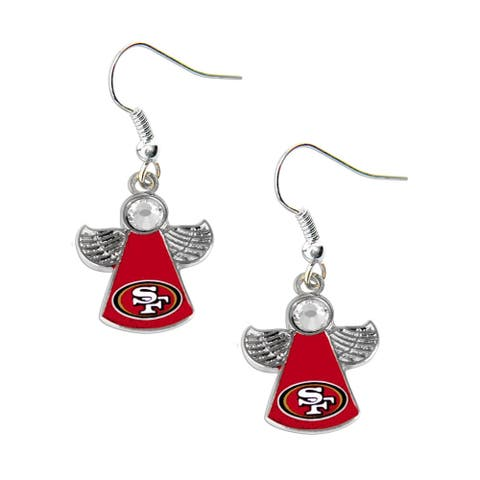 NFL San Fransisco 49ers Crystal Angel Wings Dangle Logo Earring Set