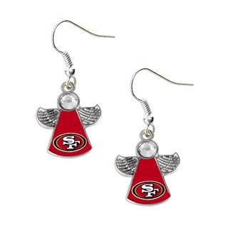 NFL San Fransisco 49ers Crystal Angel Wings Dangle Logo Earring Set