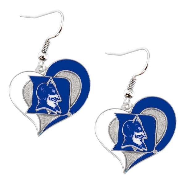 NCAA Sports Team Duke Blue Devils Swirl Heart Dangle Logo Earring Set