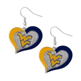 NCAA West Virginia Mountaineers Swirl Heart Dangle Logo Earring Set