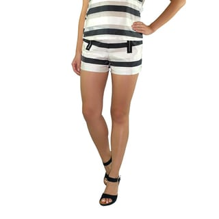 Relished Women's Sateen Striped Hip-Zip Shorts
