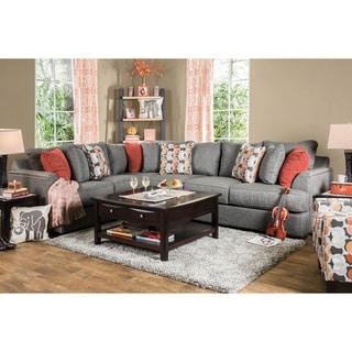 Furniture of America Yess Grey 2-piece Sectional and Chair Set