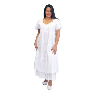 La Cera Women's Plus Size Two Layer Sleeve Tier Gown