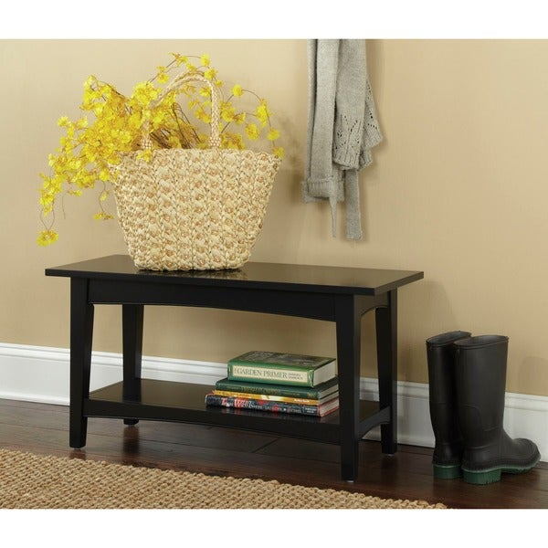 Nantucket Storage Bench Cottage Style Solid Wood 15: Fair Haven Wood Entryway Bench With Shelf