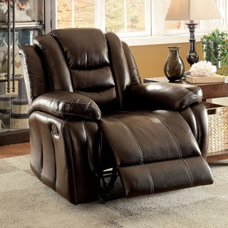 Furniture of America Chestler Transitional Dark Brown Leatherette Recliner