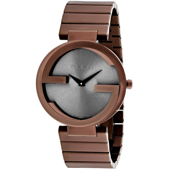 f20256af17f24c Shop Gucci Women s Interlocking G Round Rose Gold-tone Stainless Steel  Bracelet Watch - Free Shipping Today - Overstock - 11099946