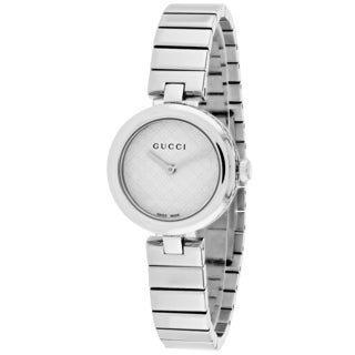Gucci Women's YA141502 Diamantissima Round Silver-tone Stainless Steel Bracelet Watch
