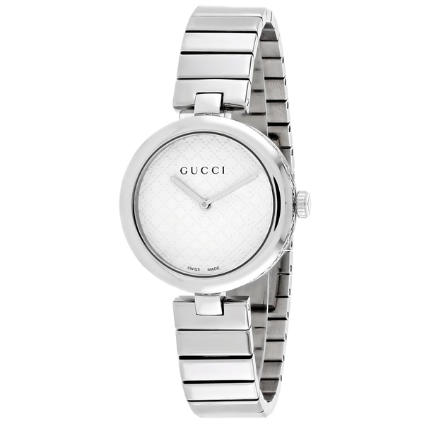 0441d253c65 Shop Gucci Women s Diamantissima Medium Round Silver-tone Stainless Steel  Bracelet Watch - Free Shipping Today - Overstock - 11099948