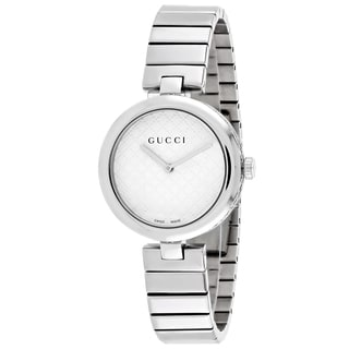 Gucci Women's YA141402 Diamantissima Medium Round Silver-tone Stainless Steel Bracelet Watch