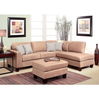 ABBYSON LIVING Heritage 3-piece Beige Fabric Sectional and Ottoman Set