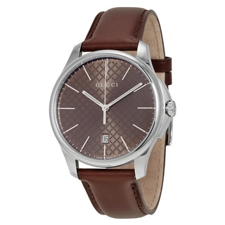 Gucci Women's YA126318 G-Timeless Round Brown Leather Strap Watch