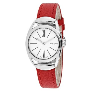 Gucci Women's Horsebit Round Red Leather Strap Watch